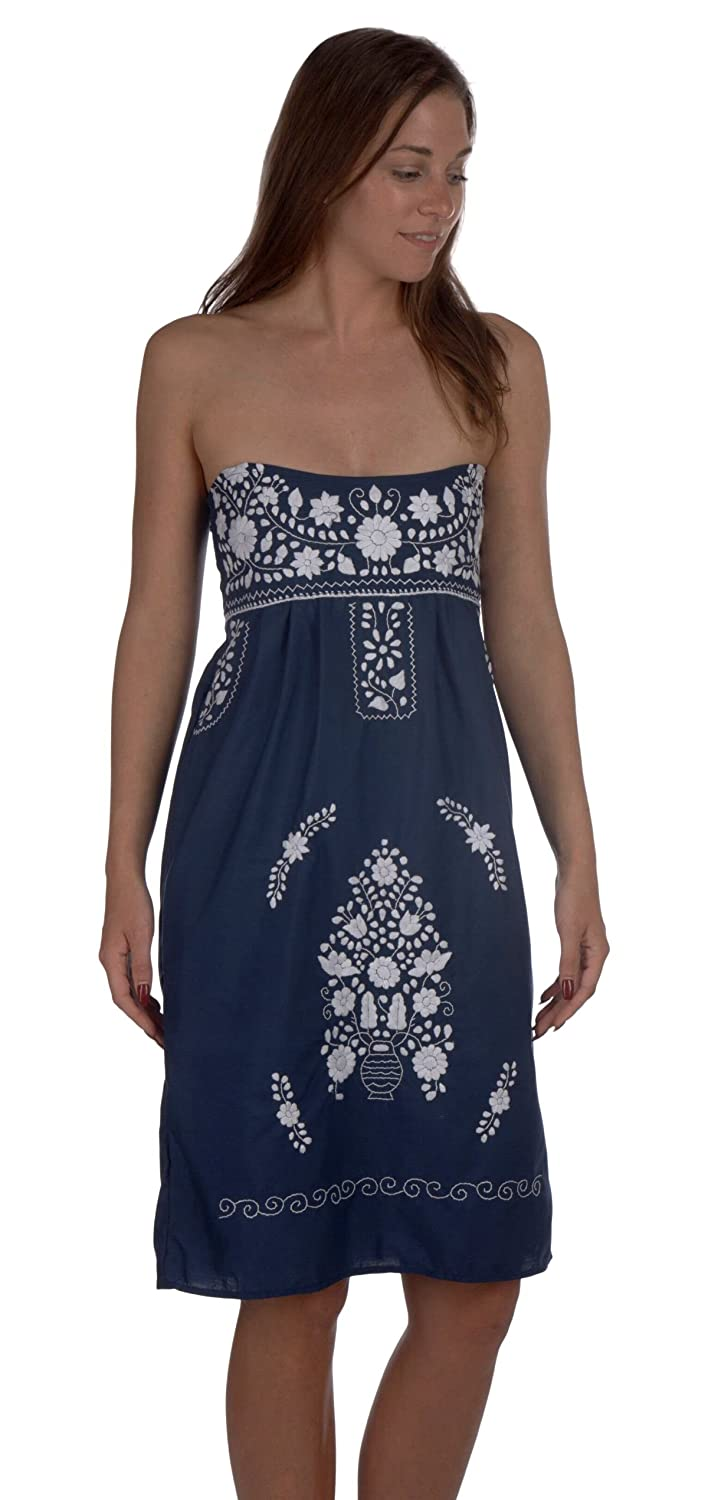 Women's Handmade Navy Mexican Strapless Dress Embroidered in White - DeluxeAdultCostumes.com