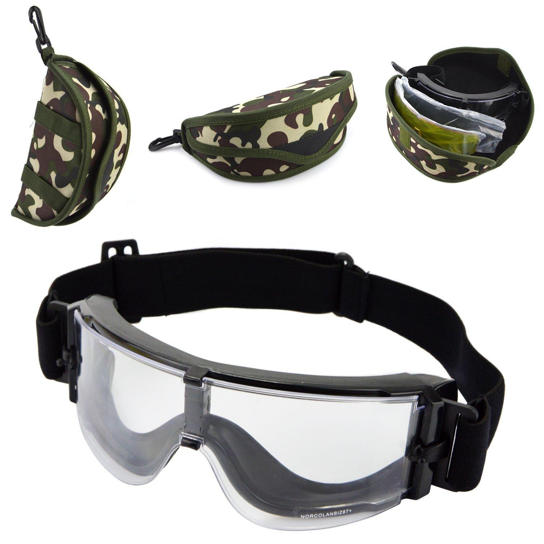 paintball ahumada + transparente + amarilla con bolsa de transporte de camuflaje protectoras con 3 lentes intercambiables Gafas t/ácticas de seguridad para airsoft