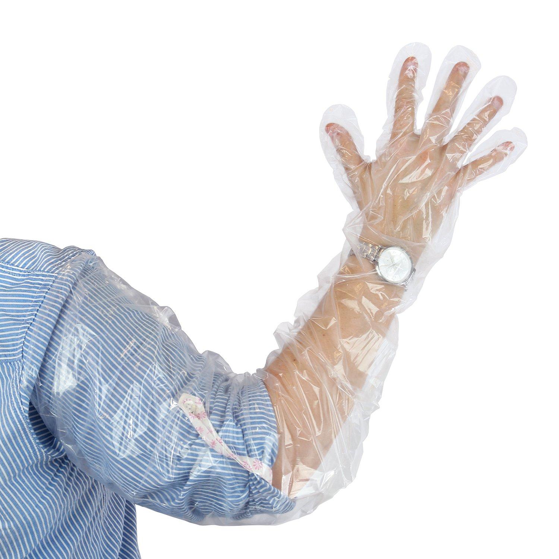 Royal 35'' Shoulder Length Poly Gloves, Pack of 100