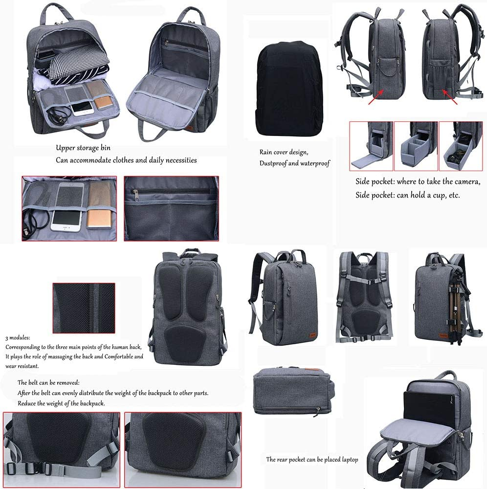 Multi-Functional Outdoor Photography Package for Men and Women Waterproof Anti-Theft Computer Bag Professional SLR Camera Camera Backpack
