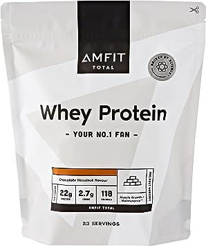 Marca Amazon - Amfit Nutrition Proteína de Suero de Leche en Polvo 1kg - Chocolate con Avellanas (anteriormente PBN)