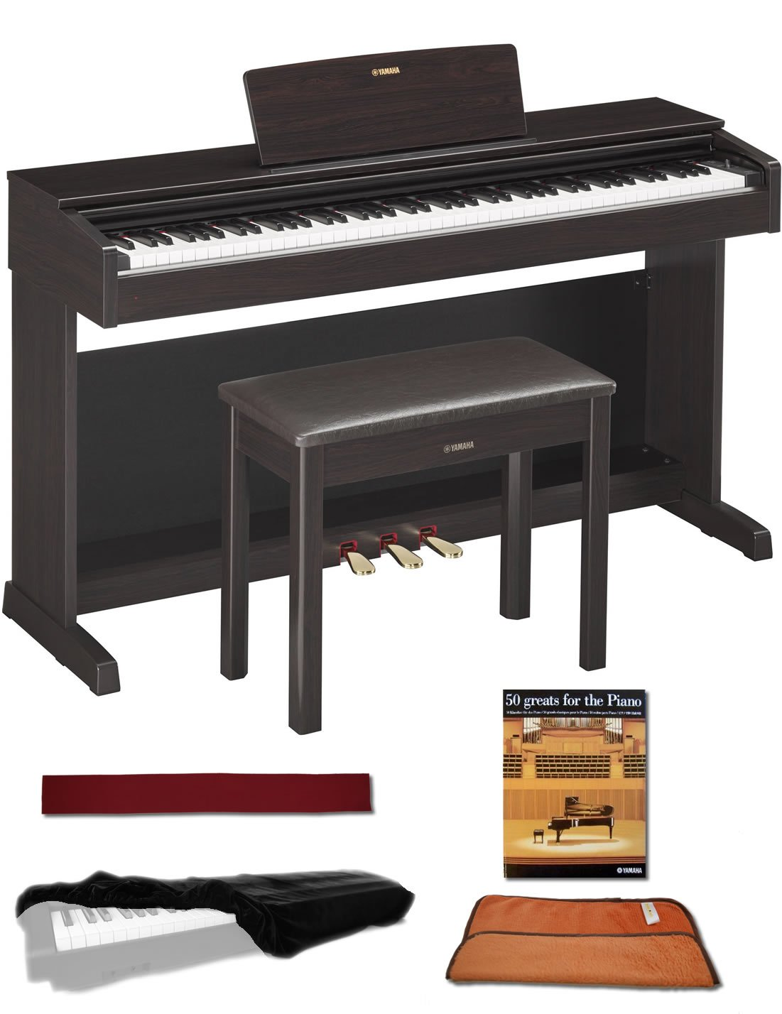 Yamaha YDP143R Rosewood 88 Weighted Keys Digital Piano keyboard Bundle with Matching Bench, Juliet Music Piano Dust Cover, Key Cover, Polish Cloth and Manuscript Book