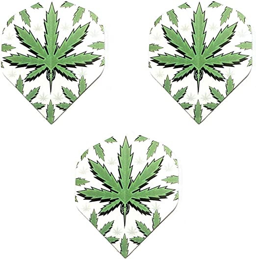 3 Sets Designa CBD THC Cannabis Leaf Marijuana Weed Ganja Pot Dart Flights