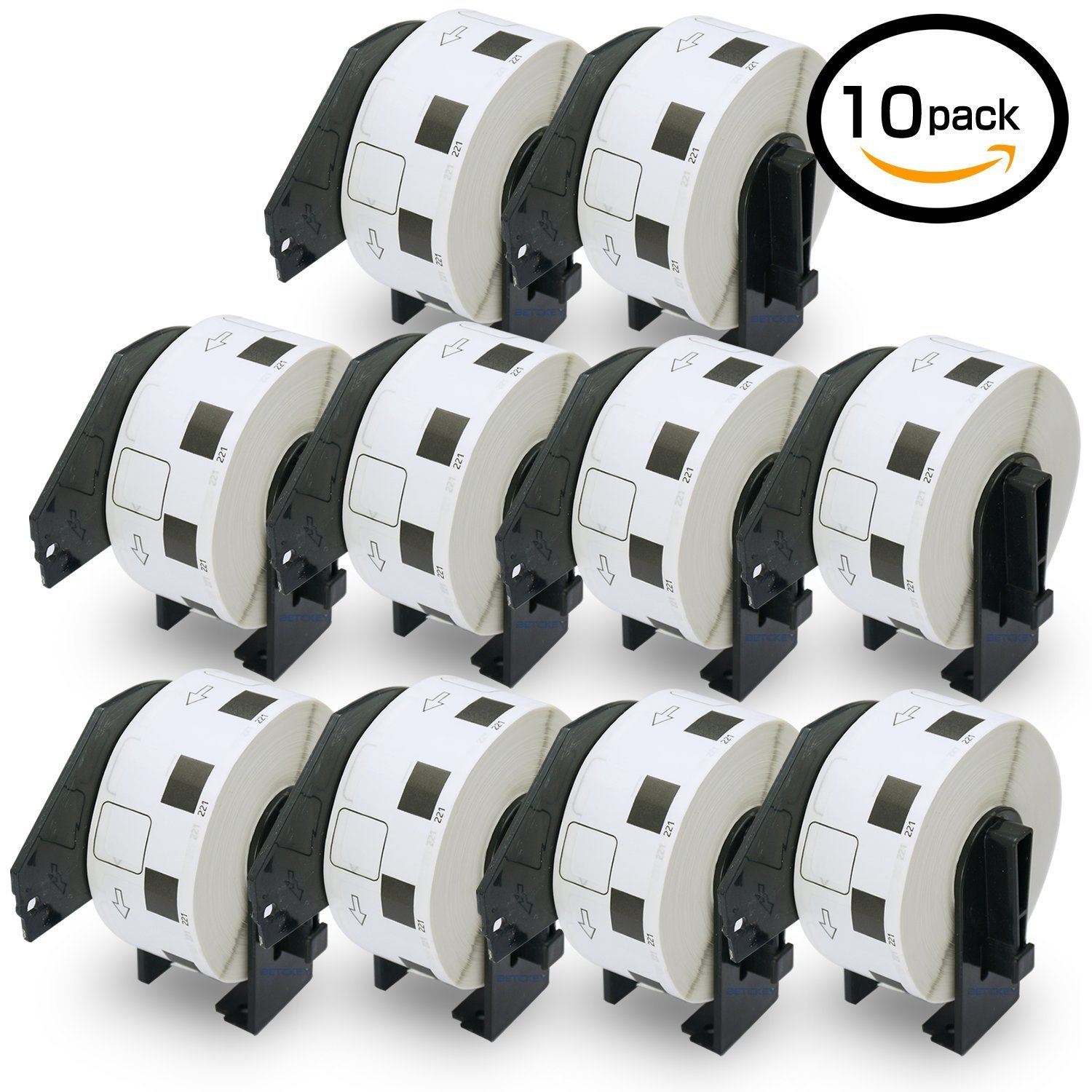 10 Rolls Brother-Compatible DK-11221 23mm x 23mm 10000 Square Paper Labels With Refillable Cartridge BETCKEY DK11221-Y10
