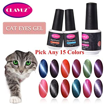 CLAVUZ 3D Magnetic Gel Nail Polish Set Charming Cat Eye Effect UV LED Lacquer Pick