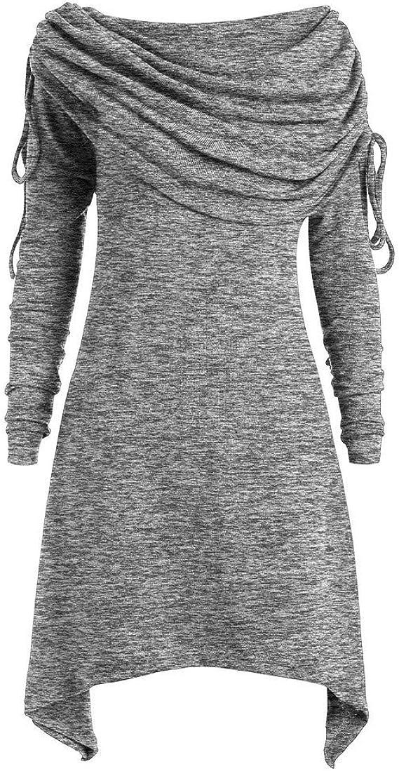 LUCKYCAT Tallas Grandes, para Mujer, Moda, Pliegues, Fruncido, Largo, túnica, Cuello, Blusa, Tops, Tops: Amazon.es: Ropa y accesorios