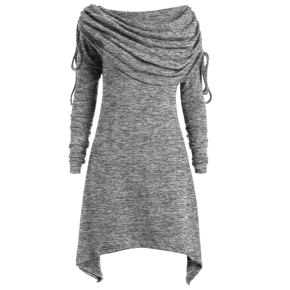 AMUSTER -Inverno Autunno Donna Elegante Cerimonia Fashion Casual Plus Size Solido Increspato Lungo Foldover Collare Tunica Top Camicetta Cime