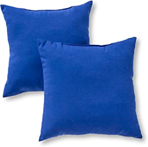 Greendale Home Fashions AZ4803S2-MARINE Blue Outdoor 17-inch Square Throw Pillow (Set of 2)