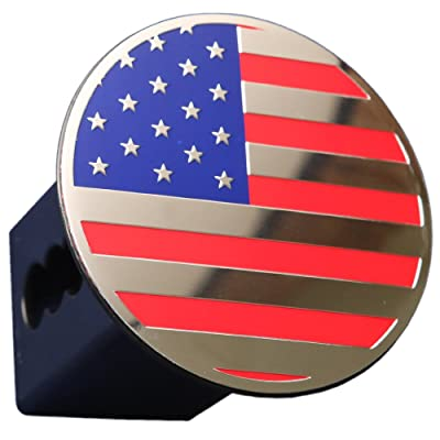 """eVerHITCH US USA American Flag Embossed Emblem Trailer Metal Hitch Cover Fits 2\"""" Receivers Chrome Color Flag Round: Automotive [5Bkhe2005922]"""