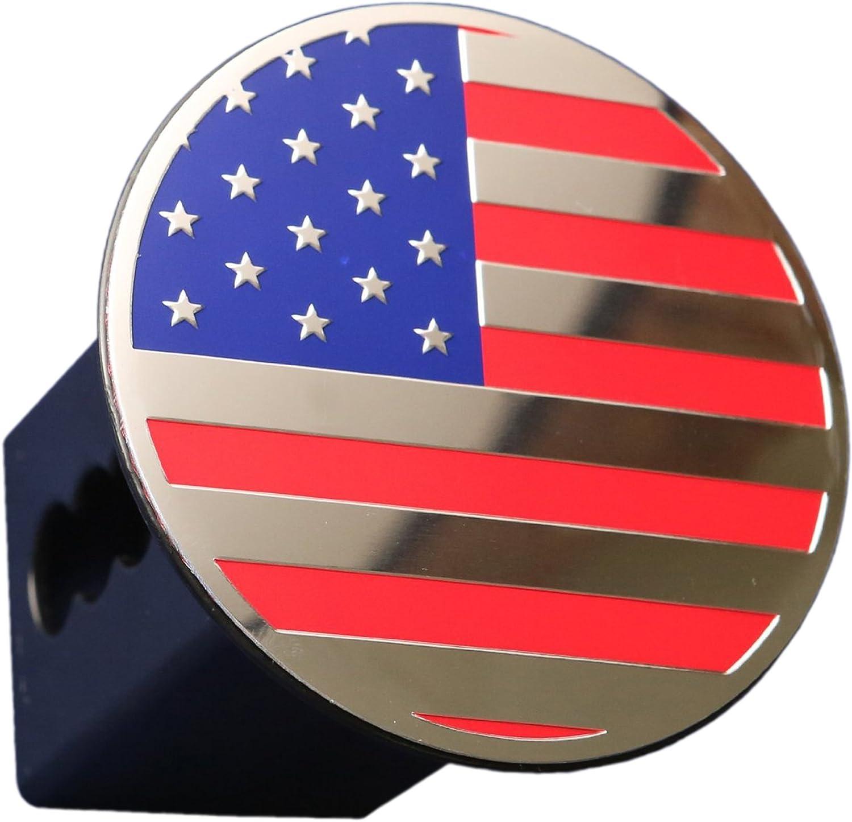 eVerHITCH USA US American Flag Eagle Metal Flag Emblem on Metal Trailer Hitch Cover Fits 2 Receiver, Black /& Chrome flag