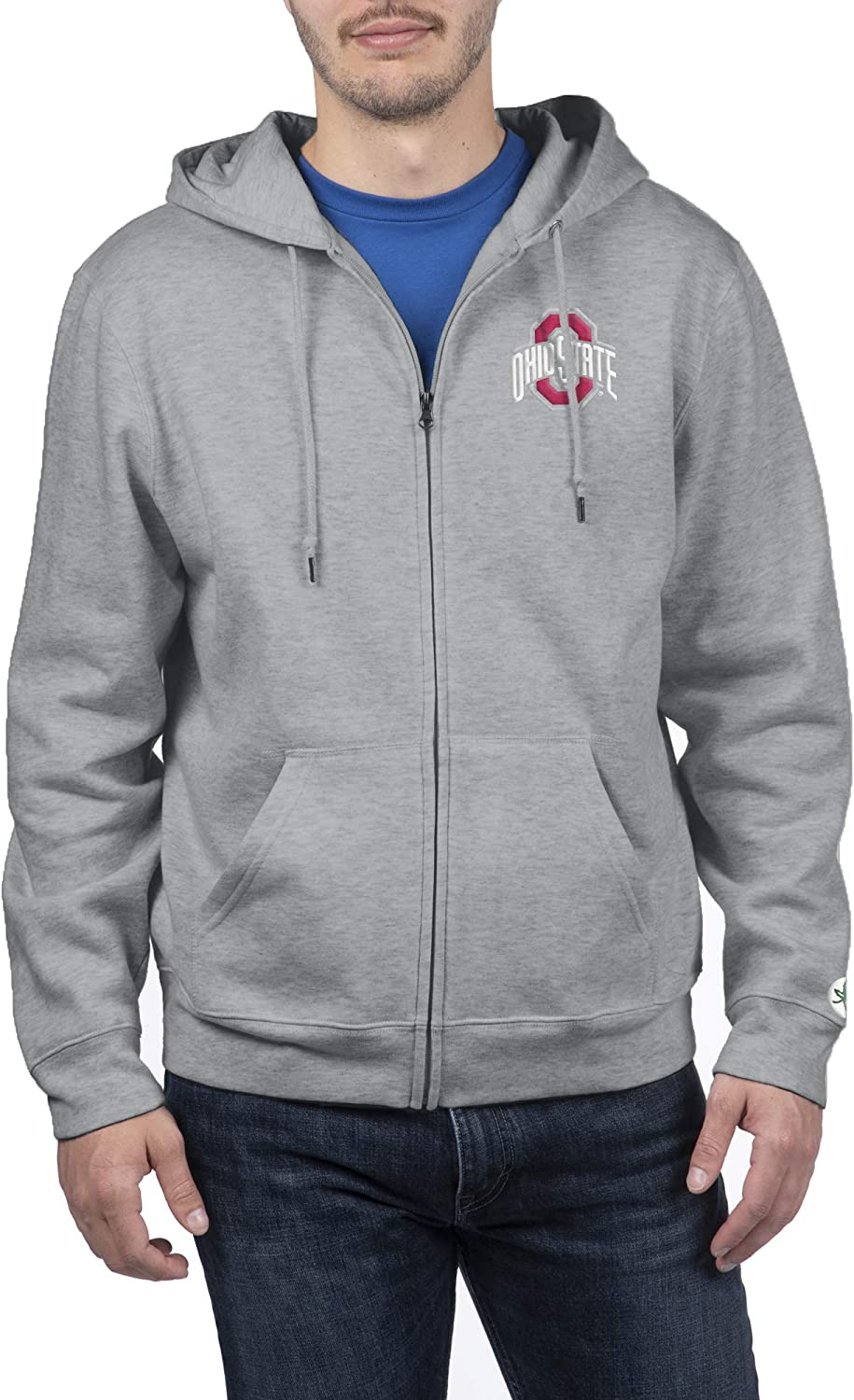 Top of the World Ohio State Buckeyes Mens Full Zip Hoodie Applique Icon Gray Heather X Large