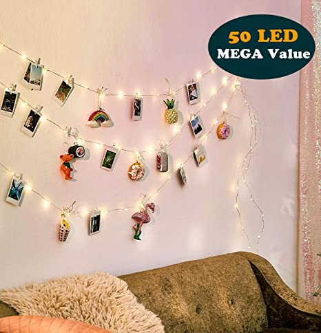 Ezdc 50 Led Christmas Photo Clip String Lights Bedroom Fairy Lights With Clips For Bedroom Decoration To Hang Card Polaroids Pictures