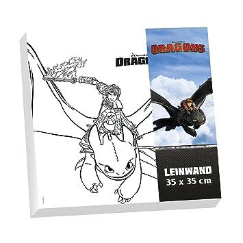 Dragons Leinwand Zum Ausmalen Im Set 35 X 35 Cm Ohnezahn