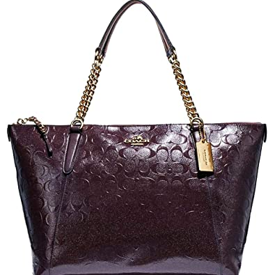 456b0a0adaf Amazon.com: SALE! New Authentic COACH Patent Leather ELEGANT Merlot, Dark  Wine, Burgundy Shoulder Tote Bag: Shoes