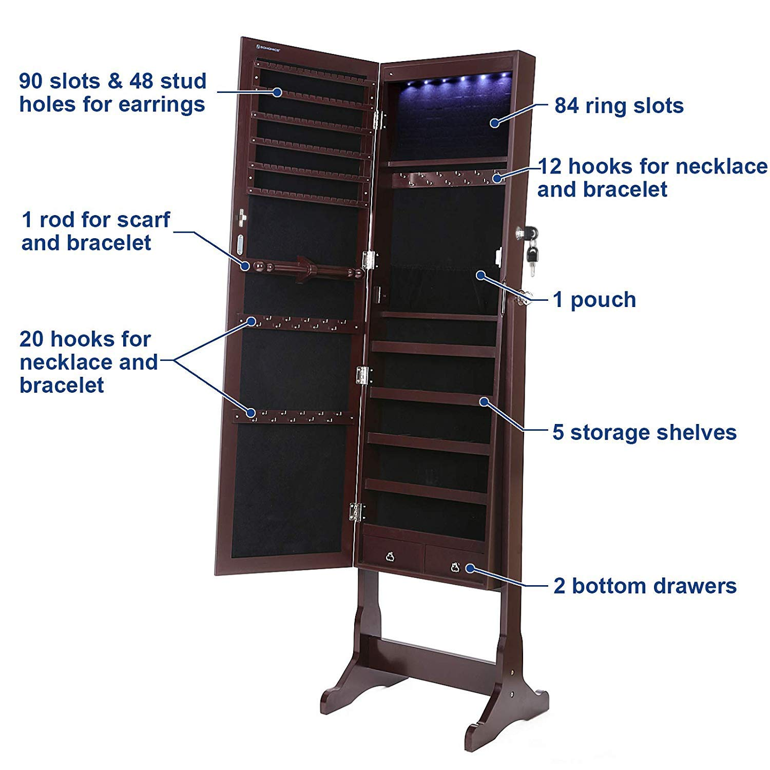 SONGMICS 6 LEDs Mirror Jewelry Cabinet Lockable Standing Mirrored Jewelry Armoire Organizer 2 Drawers Brown UJJC94K by SONGMICS (Image #5)