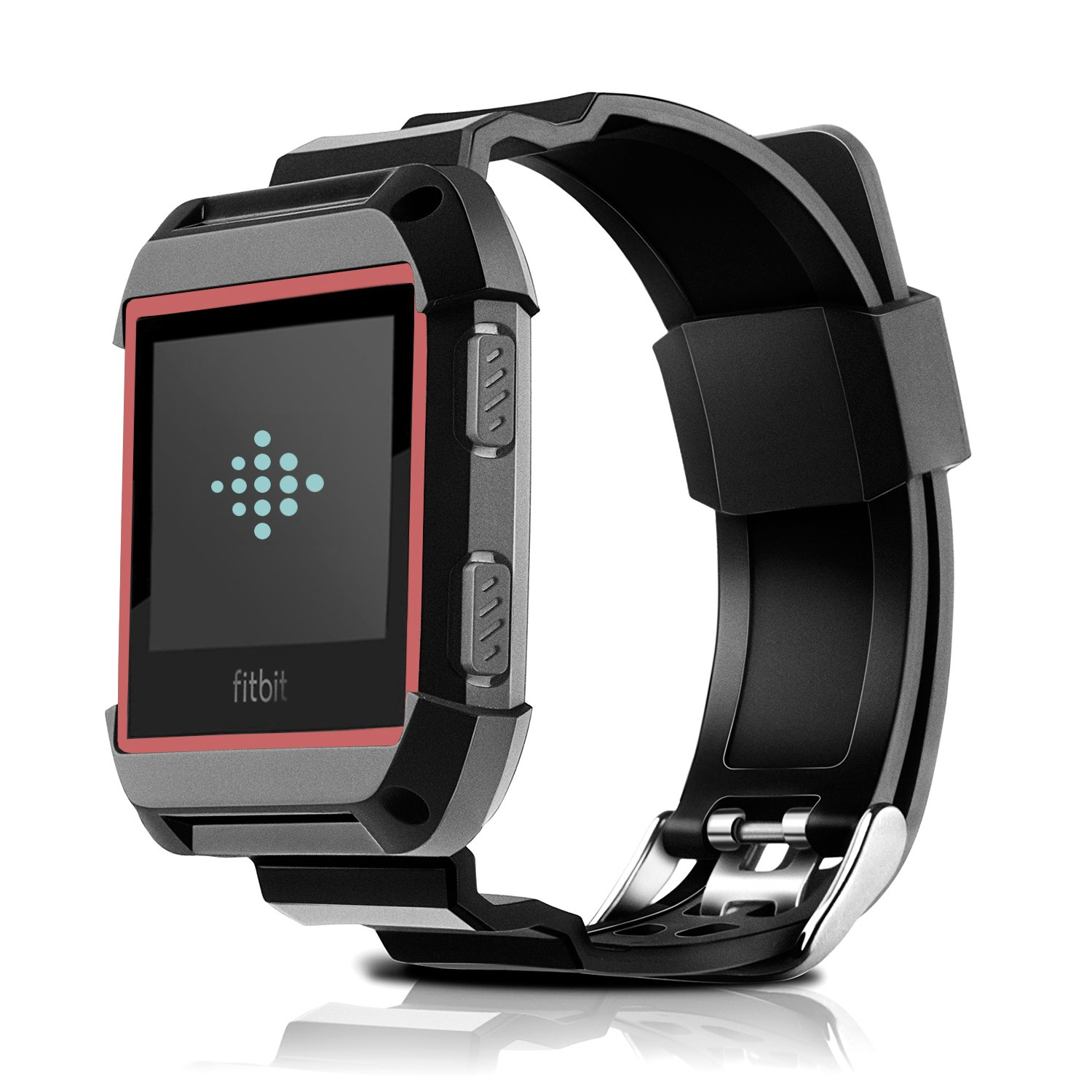 Fitbit Ionic Bands, MAIRUI Protective Case Rugged with Sport Strap Replacement Accessories for Fitbit Ionic Smartwatch (Black&Red)