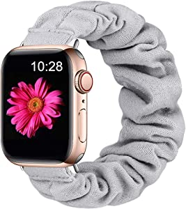 Easuny Compatible with Apple Watch 5 Band 44mm Women Series 6/5/4/SE, Soft Cloth Elastic iWatch Scrunchie Bands 42mm for Apple Watch Series 3/2/1, Gray S