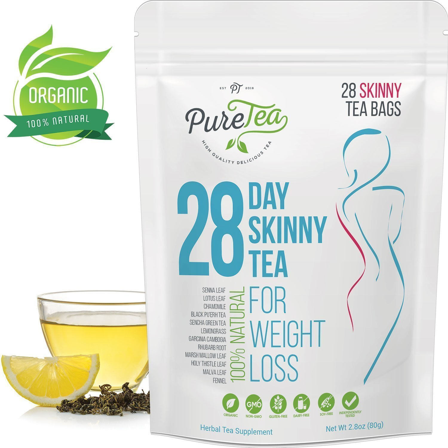 PureTea Skinny Tea, Gentle Diet Detox Tea, Teatox and Appetite Suppressant, Reduce Bloating and Constipation for Weight Loss, 100% Natural Body Cleanse for Women and Men - 28 Tea Bags