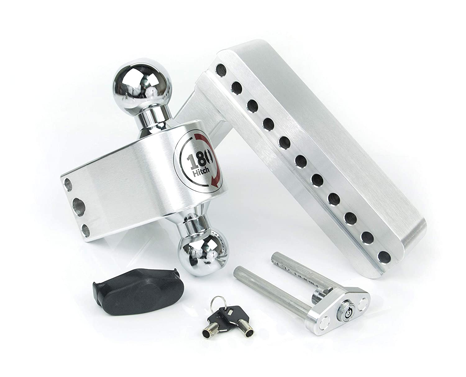 Weigh Safe CTB10-2 2 /& 2-5//16 and a Double-pin Key Lock Chrome Plated Steel Combo Ball Adjustable Aluminum Trailer Hitch /& Ball Mount 10 Drop 180 Hitch w// 2 Shank//Shaft