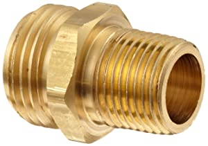 "Dixon BA74 Brass Fitting, Adapter, 3/4"" GHT Male x 1/2"" NPTF Male"
