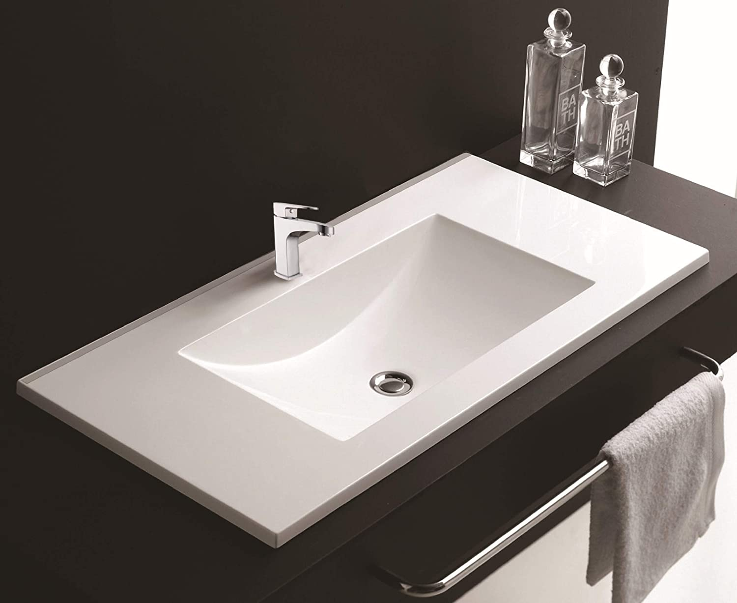 750mm Inset Basin Ceramic White Modern Square Bathroom Contemporary Sink Wash Bowl Cabinet Worktop Mounted Suitable for Fitted Furniture C CERAMICS