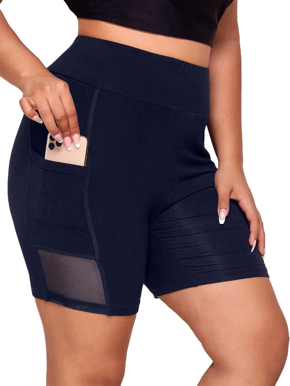 Romwe Women's Plus Size High Waist Workout Running Shorts Yoga Leggings with Pocket
