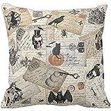 Gotd Halloween Pillows Cover Decorations Decor Halloween Throw Pillow Case Sofa Waist Throw Cushion Cover Home Decor Square 45 x 45cm 18 x 18inch (Beige B)