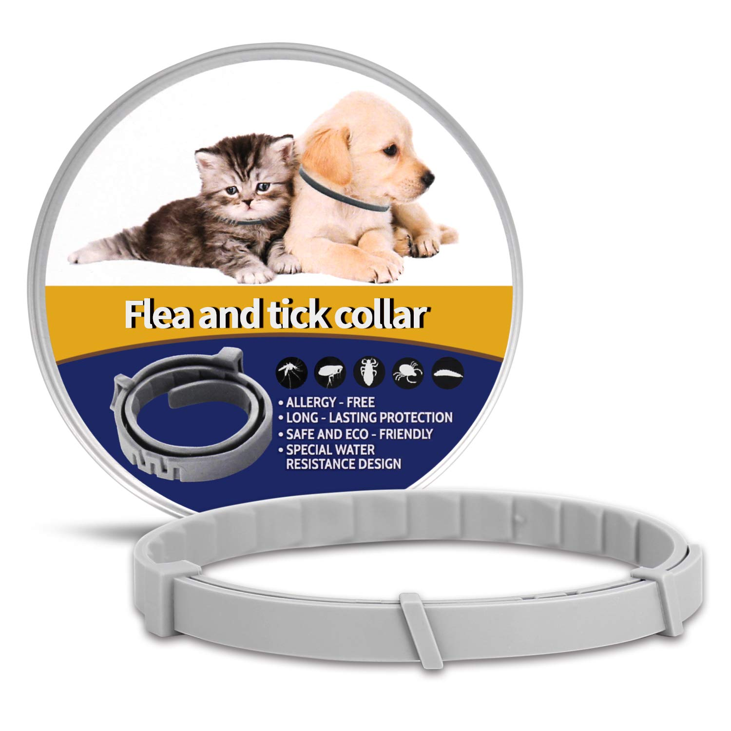 OSKIDE Pet Collar for Cats, Dog Collar Adjustable Waterproof - Safe - 12 Months Protection for The Cat and Dog Control Collar by OSKIDE