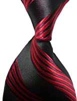 Pisces.goods New Red Black Stripe Classic Woven Man Tie Necktie Holiday Gift
