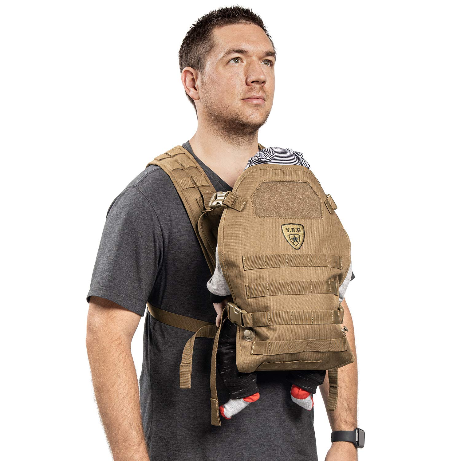 TBG - Mens Tactical Baby Carrier for Infants and Toddlers 8-33 lbs - Compact (Coyote Brown)