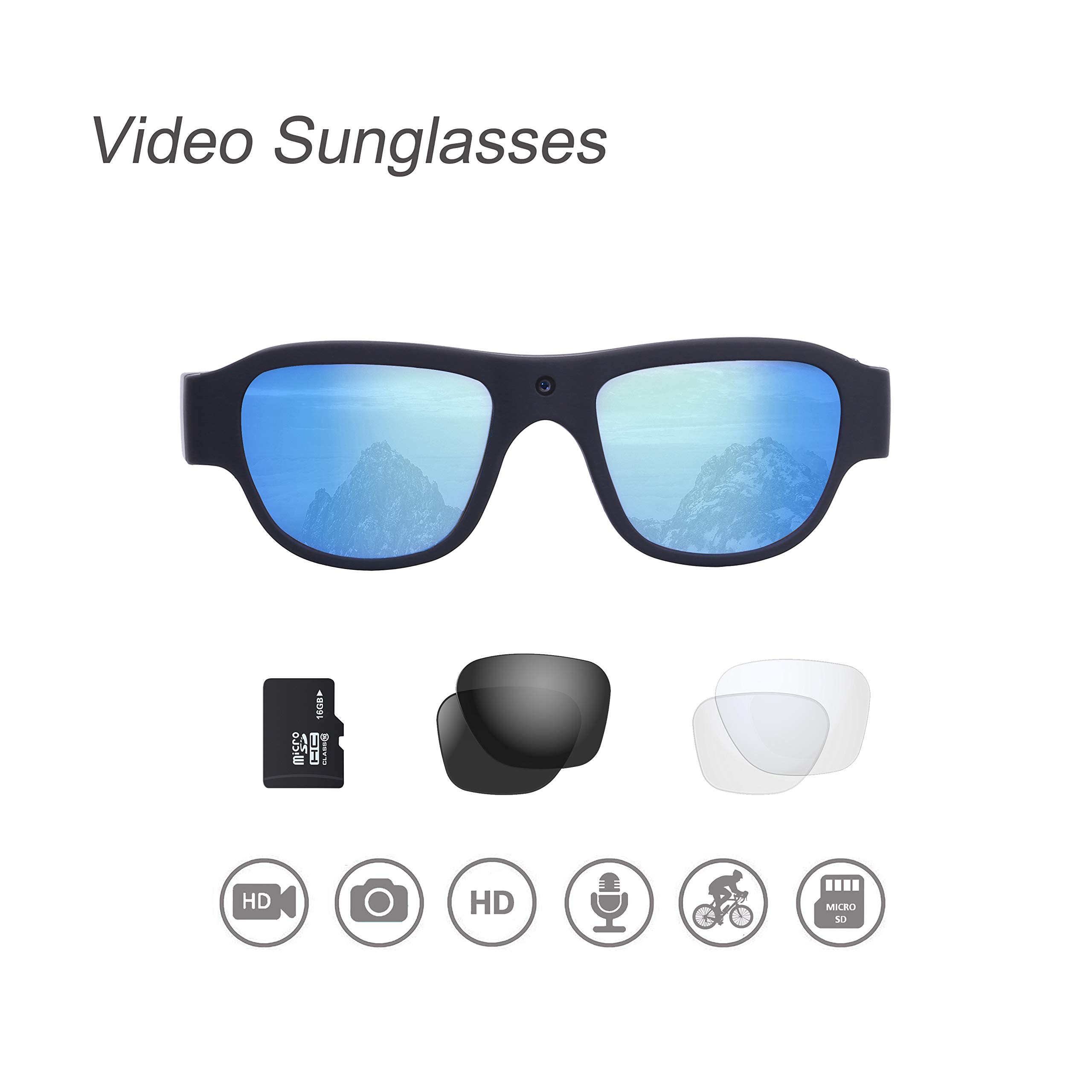 Video Sunglasses, 16GB 1080P HD Outdoor Sports Action Camera with Built in 15MP Camera and Polarized UV400 Lens, Compatible with Prescription Lens and Interchangeable Lens by OhO sunshine