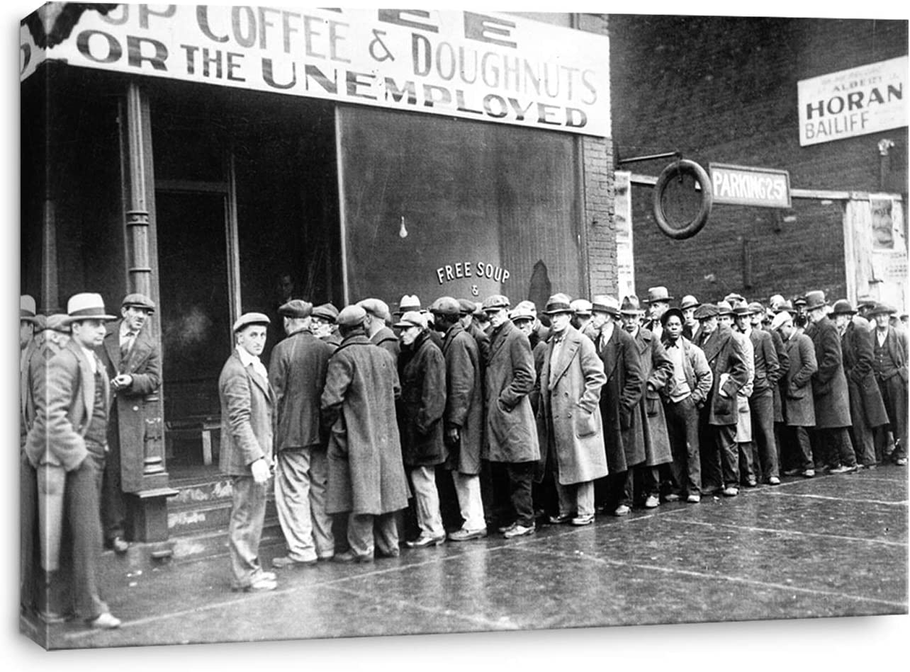 Amazon Com Artprints1stop Canvas Print Wall Art Unemployed Men Outside A Soup Kitchen During The Great Depression Chicago 1931 24x16 Inches Posters Prints