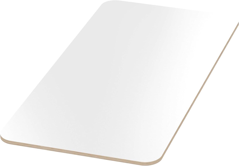 AUPROTEC Tischplatte 18mm wei/ß 1000 mm x 500 mm rechteckige Multiplexplatte melaminbeschichtet von 40cm-200cm ausw/ählbar Ecken Radius 100mm Birken-Sperrholzplatten Auswahl 100x50 cm