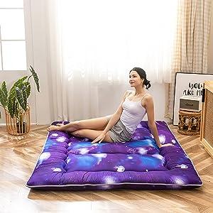 Kids Futon Mattress Floor Mattress, 3D Star Galaxy Japanese Mattress Portable Memory Foam Mattress for Boys Girls Dormitory, Kids Bedroom Floor Sleeping Bed, Purple Outer Space Themed, Twin Size