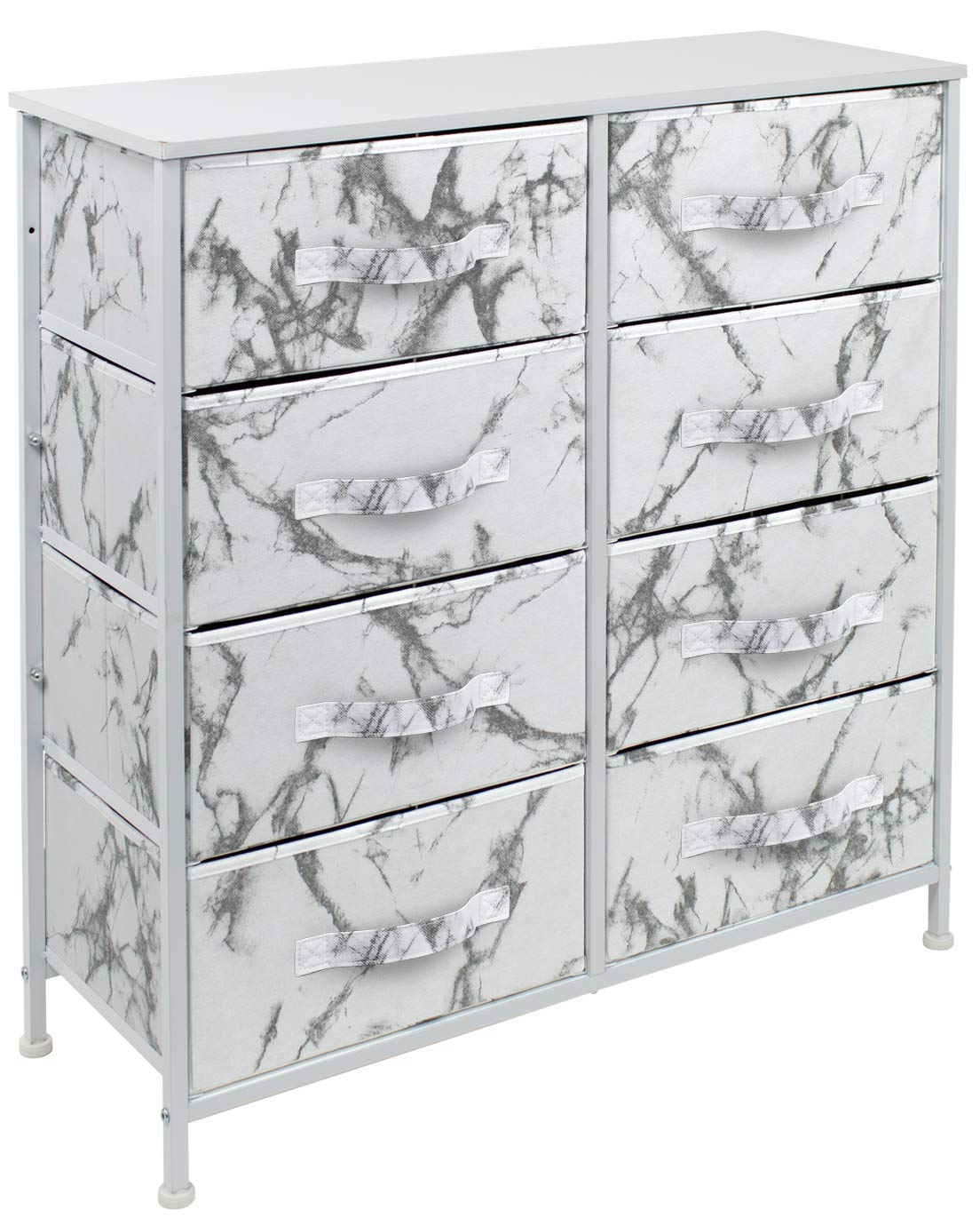 Sorbus Dresser with 8 Drawers - Furniture Storage Chest Tower Unit for Bedroom, Hallway, Closet, Office Organization - Steel Frame, Wood Top, Easy Pull Fabric Bins (Marble White – White Frame)