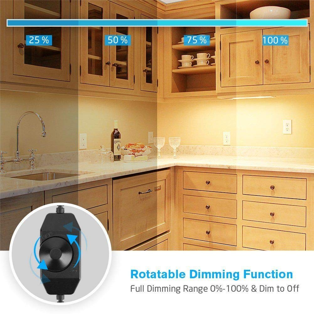 EShine Rotary Dimmer Switch for LED Under Cabinet Lighting with Wire Clips for Comfortable Installation Black