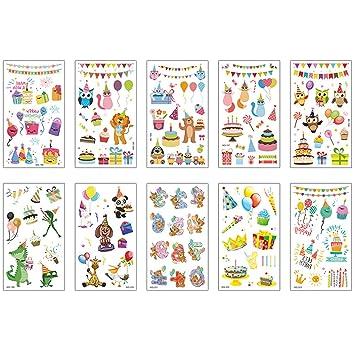 10 hojas de dibujos animados tatuaje pastel animal globo regalo ...