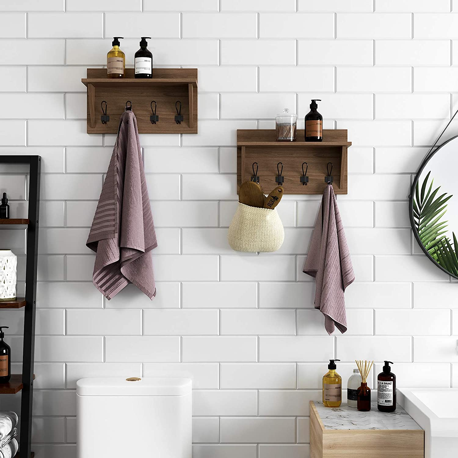 Amazon.com: VASAGLE Perchero de pared con estante, estilo ...