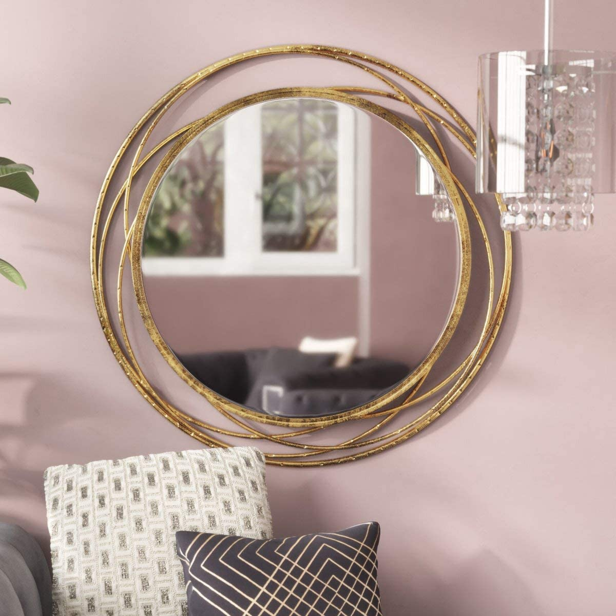 SPAZIO Swirl Wall Mirror, One Size, Antique Gold