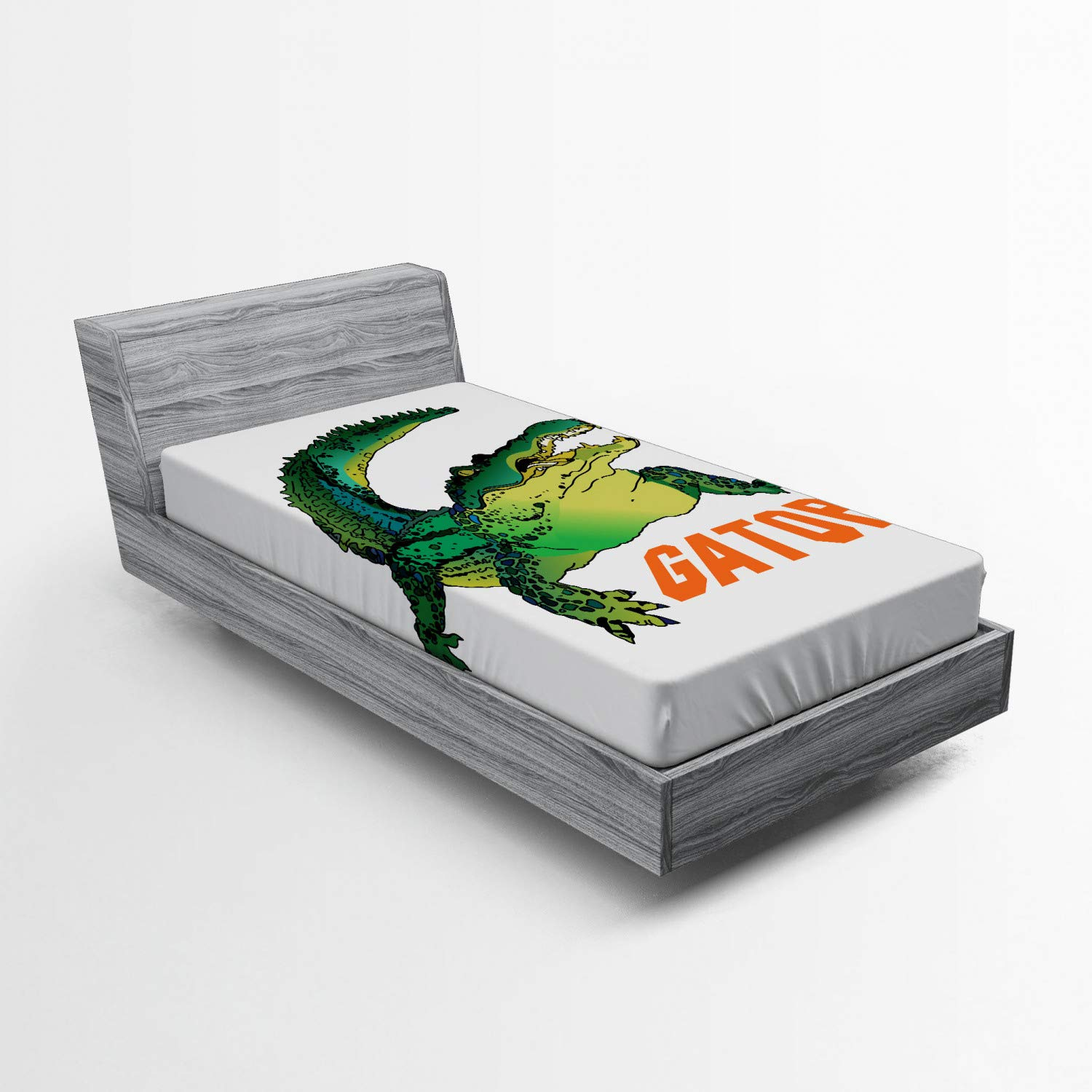 Ambesonne Reptile Fitted Sheet, Grumpy Alligator Has a Word Gator Crocodile Humor Wild Life Safari Aquatic, Bed Cover with All-Round Elastic Deep Pocket for Comfort, Twin XL Size, Green Orange White