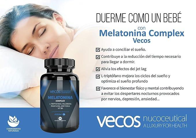 Melatonina 1,9 mg Vecos para ayudar a conciliar el sueño – Suplemento con L- Triptófano, valeriana, pasiflora, griffonia y vitamina B6 – 90 cápsulas vegetales – 100% Apto veganos: Amazon.es: Salud y cuidado personal