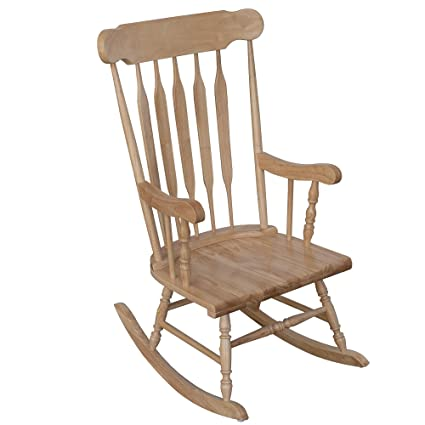 HOMCOM Traditional Slat Wood Rocking Chair Indoor Porch Furniture For Patio  Living Room   Natural Wood