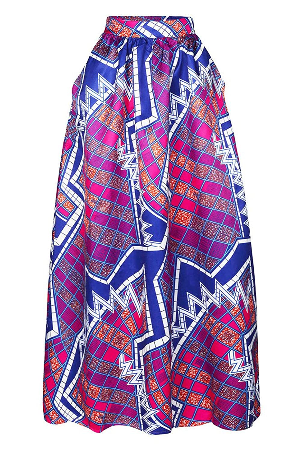 VIGVOG Women's Ethnic Plus-Size African Print Pull-on Pleated Long A-line Skirt (XL, F)