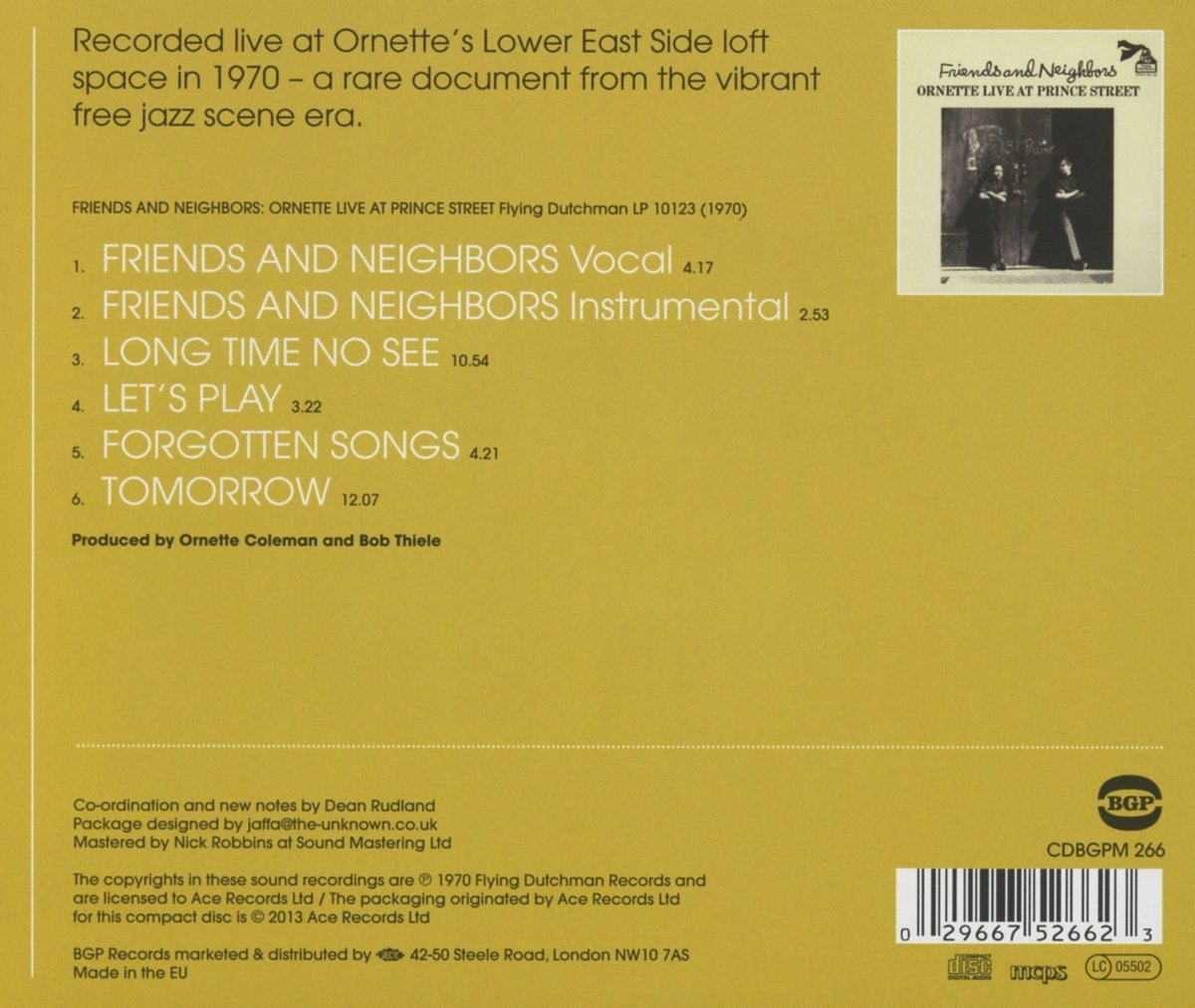Friends And Neighbors: Ornette Live At Prince Street by BGP (Beat Goes Public)