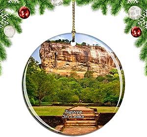 Weekino Sri Lanka Ancient City of Sigiriya Christmas Xmas Tree Ornament Decoration Hanging Pendant Decor City Travel Souvenir Collection Double Sided Porcelain 2.85 Inch
