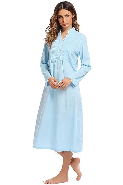 Ekouaer Womens Cotton Victorian Nightgown Long Sleeve Vintage Sleepwear(White f5cbcdad4