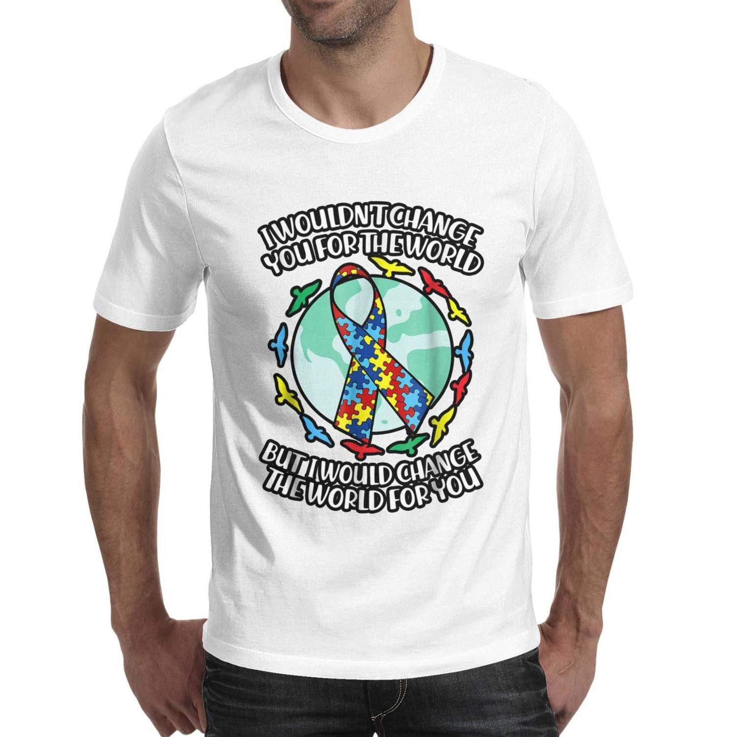I Wouldnt Change You for The World Autism Awareness Day Adult Plain Solid t-Shirt Shirt