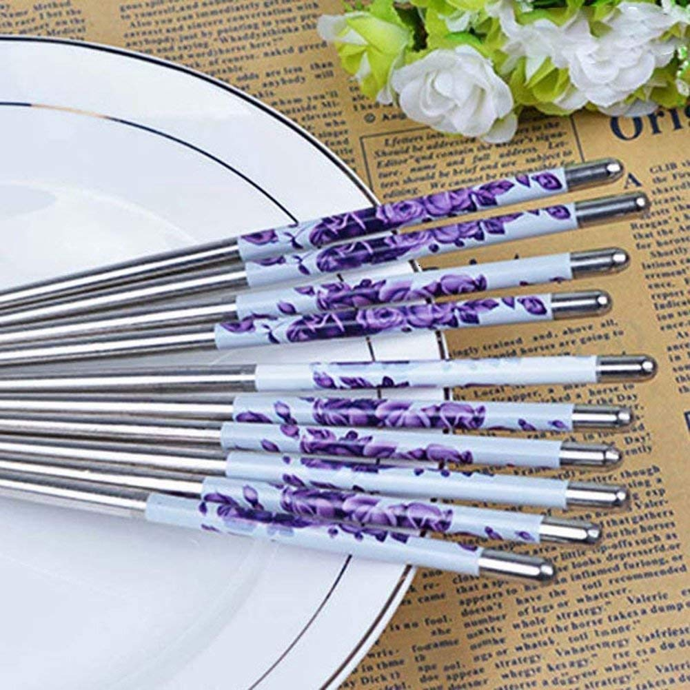 Auxsoul Stainless Steel Chopsticks Lightweight Chopstick Set Reusable Classic Style for Kitchen Dinner Beautiful Gift 5 Pairs