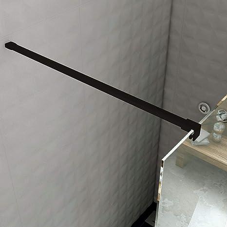 MAMPARA DE DUCHA FIJO CRISTAL TEMPLADO 8 MM CON TRATAMIENTO ANTICAL PERFIL NEGRO (110 CMS.): Amazon.es: Bricolaje y herramientas