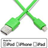 Aduro - Apple Certified / MFi - (3 Feet, 1 Meter) USB to Lightning Charge & Sync Cable fits all Apple Devices with Lightning Connector (Green)